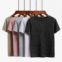 Bygouby tricoté Summer T Shirt Femmes Casual Manches courtes T-shirt T-shirt Élasticité respirante Kintwear Top Col O-Cou Tshirt 210315