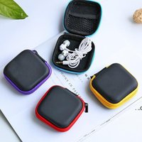 Headphone Case PU Leather Earbuds Pouch Mini Zipper Earphone box Protective USB Cable Organizer Fidget Spinner Storage Bags 5 Color EWA7379