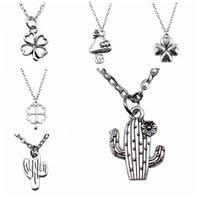 Guest Gift 1Pcs Four Leaf Clover Cactus Pendant Chain Necklace Women 43+5Cm Chains