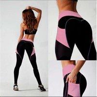 Women's Pants & Capris High Waist Patchwork Gym Training Leggings Elasticity Tights With Pocket Yoga Sports Women Slim Running Fitness