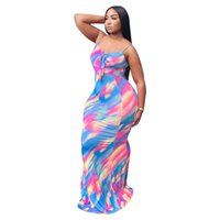 Spaghetti Strap Summer Party Party Dress Donne Donne Arcobaleno Tie Dye Stampa Backless Boho Dress Casual Bow Tiove Senza maniche Maxi Vestidos