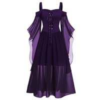Gothic Mittelalterliches Kleid Cosplay Carnival Halloween Es Womne Plus Size Cold Shoulder Butterfly Sleeve Lace Up