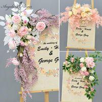 Decorative Flowers & Wreaths Wedding Decor Road Lead Artificial Flower Row Welcome Sign Creative Pography Props Home Door Corner DIY Garland