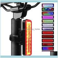 Bicicleta Aessórios Ciclismo Esportes OutdoorsBike luzes Bicicleta Cauda LED Aviso USB Recarregável Cob Lâmpada Bead 14 Modos de Iluminação Drop Del