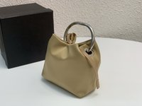 Thick silver ring handle mini bag high-quality nylon fabric Unisex style bucket handbag fashion classic Triangle emblem Design pouch