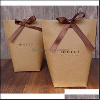 Wrap Event Festive Home & Garden Merci Thank You Baking Jewelry Carton Paper With Bow Shop Gift Bag Festival Party Supplies 13.5X16.5Cm Drop