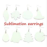 HOT! Sublimation Earrings DIY PU blank white earrings creative trinkets women fashion styles INS decoration two-side ZZF8469