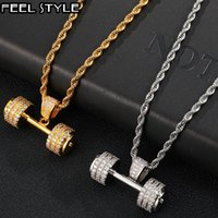 Pendant Necklaces Hip Hop Iced Out Bling Rope Chain Barbell Gym Fitness Dumbbell Gold Color Hand Pendants &Necklaces For Men Tennis Jewelry