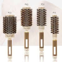 Hair Comb Brush Nano Hairbrush Ceramic Ion Round Barrel Hairdressing Styling Tool FnLune Professional Curling Iron