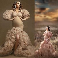 2021 Sexy Champagne Evening Dresses Wear Tulle Kimono Women Robe Photoshoot Half Sleeves Off Shoulder Prom Gowns African Mermaid Split Maternity Dress Photography