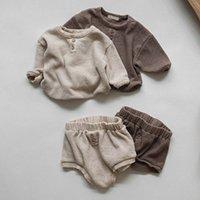 Melario 신생아 유아용 옷 세트 단단한 아기 소녀 옷 긴 소매 탑과 반바지 아기 소년 2pcs 옷 210226