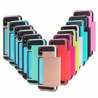 Hybrid Armor TPU PC Wallet Slide Card Slot Cover Case For iphone 6 7 8 se x xr 11 12 mini pro max samsung s10 s20 s21