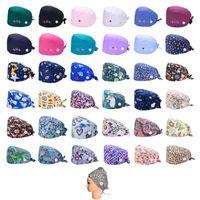 Bonnets 37 Couleurs Casquette de gommage avec protège-oreilles Bouton Buttwear Imprimer Bouffant chapeau