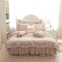 Top Luxury European Khaki Bedding Set de lacio de lacio Funda de cama de cama elegante colcha Falda para la cama para la decoración de la boda Ropa de cama