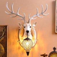 Lampada da parete Moderna Resina Bianco Bianco Bianco LED Nordic Light Retro Deer Soggiorno Castelli da letto Sconce Indoor Home
