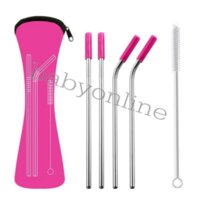 DHL 6Pcs/set Reusable Stainless Steel Straight Bent Drinking Straws with Silicone Tips for Hot Cold Beverage Drink Bar Tools