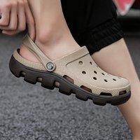 QUAOAR Brand Big Size 35-47 Men Black Garden Casual Aqua Clogs Hot Male Band Sandals Summer Slides Beach Swimming Shoes 210301