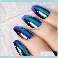 Konst salong hälsa beautyballerina kista naglar tips spegel krom reflektion falsk nagel magisk effekt holo blå lila falska naglar1 droppe deli