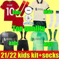 21 22 Kids Kit Juvenil Boys LFC M.Salah Virgil Firmino Fútbol Jerseys Mane Henderson Shaqiri A.Becker Liverpool Diogo J. Niño 2021 2022 Camisa de Fútbol