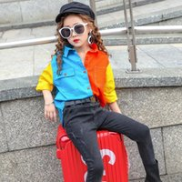 Shirts Spring Autumn Girls Blouse Baby Shirt Kids Tops Children Fashion Streetwear Clothes Candy Color Contrast Patch 4 To 14 Yrs