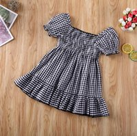 Dresses Toddler Baby Girl Clothes Plaids Off Shoudler Short Sleeve Ruffle Dress Princess Pageant Party Tutu