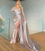 Eine Schulter lange Ärmeln Meerjungfrau Abendkleider mit Split Court Train Pailletten formale Prom-Kleider plus Größe