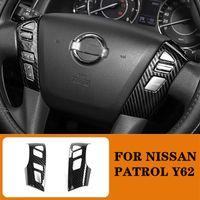 Fit für Nissan Patrol Y62 2017 2018 2018 2019 2020 Auto Styling Kohlefaser Farbe Innere Lenkrad Dekorative Abdeckung Zierrahmen