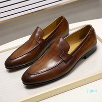 designer Dress Shoes Autumn Summer Style Mens Loafers for Wedding Party Dance Black Brown Genuine Leather Slip on Men's Casual Business