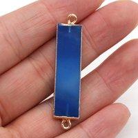 魅力の天然石の青い瑪瑙コネクタ9x38mm長方形の二重穴ペンダントチャームMSジュエリー作りDIYネックレスアクセサリー