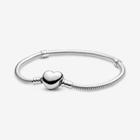 100% 925 Sterling Silber Herz Verschluss Schlange Kette Armband Passform Authentische europäische baumeln Charme Für Frauen Mode DIY Schmuck