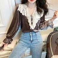 Новая модная блузка Женщины Корейский весенний Повседневная улица OL Wild Velvet Кружева Верх Верхняя Жемчужная Кнопка Флейс Рукав Тонкий Свободная Рубашка EHMF