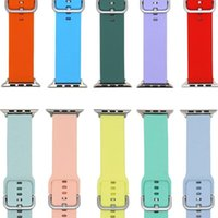 Bandes de gros pour Apple Watch Band Sangles de remplacement Silicone Soft Silicone Compatible avec Iwatch Durable Boucle classique Femmes