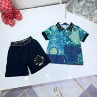 Designer enfants Polo T-shirt + Shorts Ensembles Enfants Culture Green Color Brand Garçons Flower Impression d'automne Vêtements Tees en coton Taille 110-160