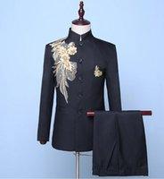 Blazer Männer chinesische Tunika Anzug Set mit Hosen Herren Hochzeit Anzüge Sänger Sternstil Tanz Bühne Kleidung Stickerei Formale Kleid schwarz