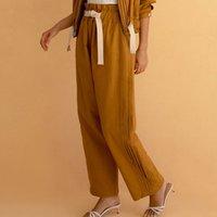 2021 Новая старинная элегантная уличная одежда длинные женские боковые плиссированные осенью повседневная мода свободные твердые зашластывающие штаны плюс размер чел