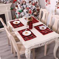 Decorazioni natalizie tappetino rosso tavolino a plaid nero coltello e forchetta di forche xmas western food matsrestaurant takeware ZC410