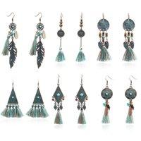 Dangle & Chandelier Bohemian Tassel Fringe Earrings For Women Jewelry Boho Vintage Ethnic Geometric Round Triangle Long 2021