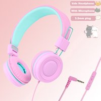 kids Headphones with Microphone Music Stereo Earphones Adjustable Foldable Wired Children Headset for Girl Boy Gift Online Learning Tablet ipad iphone