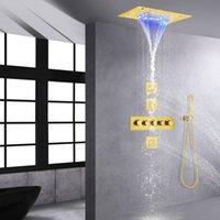 نحى الذهب ترموستاتي 14 × 20 بوصة أدى شلال الأمطار الأعلى نهاية دش رئيس حمام خلاط صنبور مجموعة الجسم البخاخ الطائرات يمكن أن تعمل معا