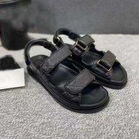 Designer Frauen Sandalen Hohe Qualität Womens Slides Kristall Wade Leder Casual Schuhe gesteppte Plattform Sommer Strand Slipper 35-42 mit Kasten- und Einkaufstasche
