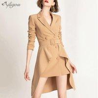 Frauenjacken Ailigou Business Style Women'scoat Gürtel Zweireiher Anzug Mode formale zweiteilige ol sexy Celebrity Mantel