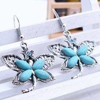 women's small butterfly Tibetan silver turquoise Charm earrings GSTQE088 fashion gift national style women DIY earring