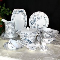 Bols en porcelaine bleue et blanche de mariage Cadeaux de vaisselle antique Cadeaux Plaques ménagères Jingdezhen Os Chine TablewareHigh Quatity