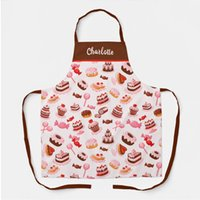 Waterproof Customization Pattern Cotton Polyester Printed Adult Aprons BBQ Kitchen Coffee Bar