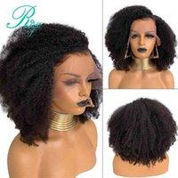 Afro Kinky Curly 13x4 Dentelle Avant Perruque Mongol Remy 13x6 Perruques humaines courtes avec nœuds blanchis bébé Riya