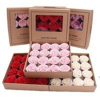 Austen Rose Sapone Flower 16pcs / Set Rose Sapone Sapone Fiore Bagno Corpo Fiori artificiali profumati Rosa Essential Wedding Valentine's Day Regalo Dwa