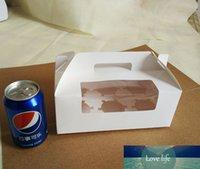 10pcs 23.5 * 15 * 9cm 6 Grid Cartón de cartón blanco Muffin Caja de ventana con mango para caramelo \ pastel \ postre \ Party Packing Boxes