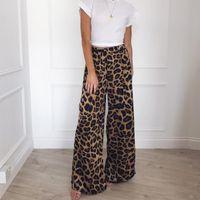 Women's Pants & Capris 2021 Fashion Autumn Leopard Printed Wide Leg Women High Waist Loose Palazzo Snakeshin Elegant Office Ladies Trousers