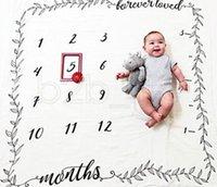 Baby Letter Flower Print Blankets Creative Soft Newborn Wrap Swaddling Fashion Baby Milestone Blankets Photography Backdrops TTA771