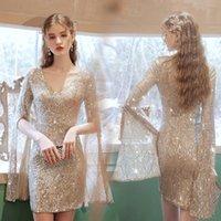 Gold Sparkle V Neck Column Short Mini A-Line Evening Dress Beading Sequins Slit Long Sleeves Elegant Prom Gowns Party Dresses